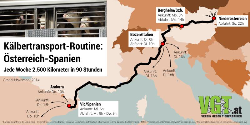 Tiertransporte: 2500 km in 90 Stunden